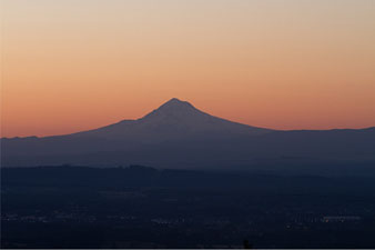 Sunrise behind Mt. Hood